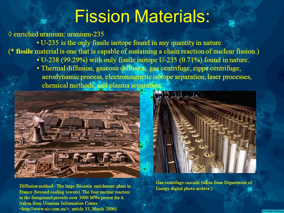 Fission Materials: ◊ enriched uranium: uranium-235 U-235 is the only fissile isotope found in any quantity in nature.