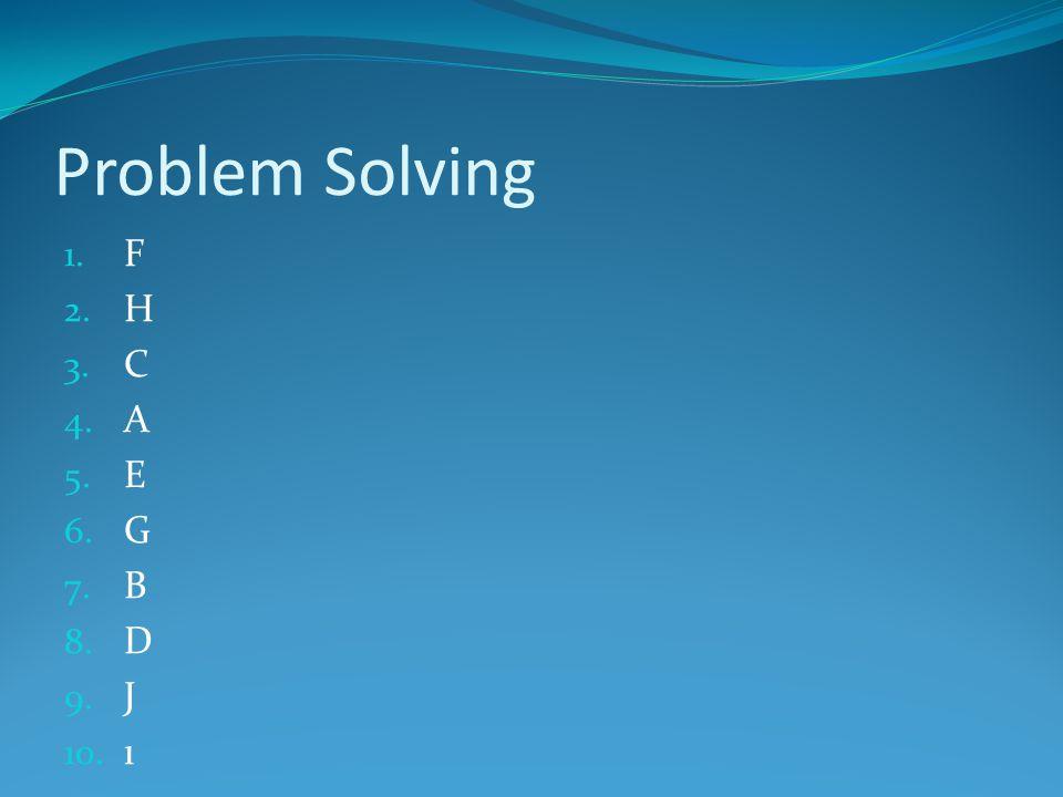 Problem Solving 1. F 2. H 3. C 4. A 5. E 6. G 7. B 8. D 9. J 10. ı