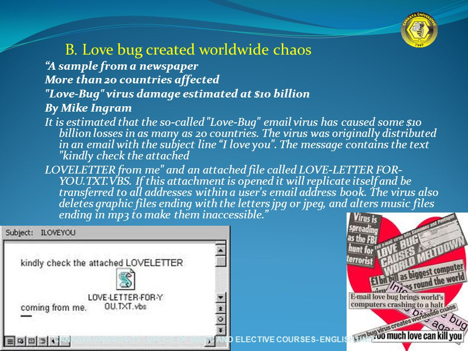 """B. Love bug created worldwide chaos """"A sample from a newspaper More than 20 countries affected"""
