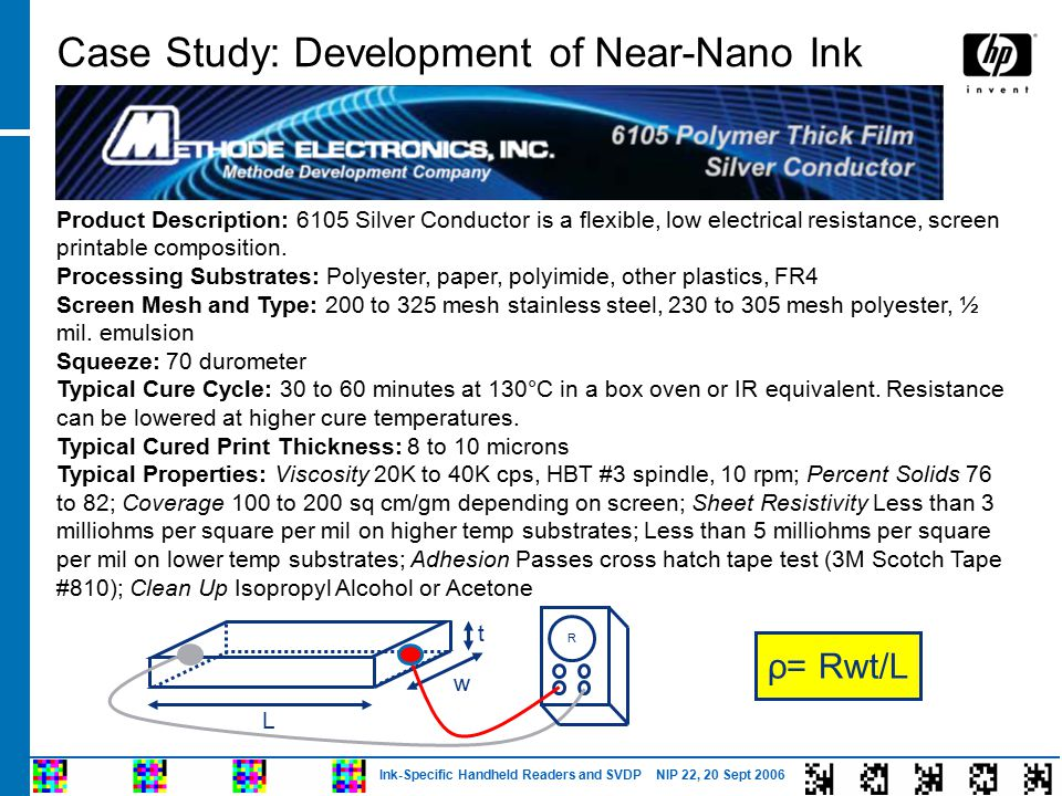 Ink-Specific Handheld Readers and SVDP NIP 22, 20 Sept 2006 Case Study: Development of Near-Nano Ink Product Description: 6105 Silver Conductor is a flexible, low electrical resistance, screen printable composition.
