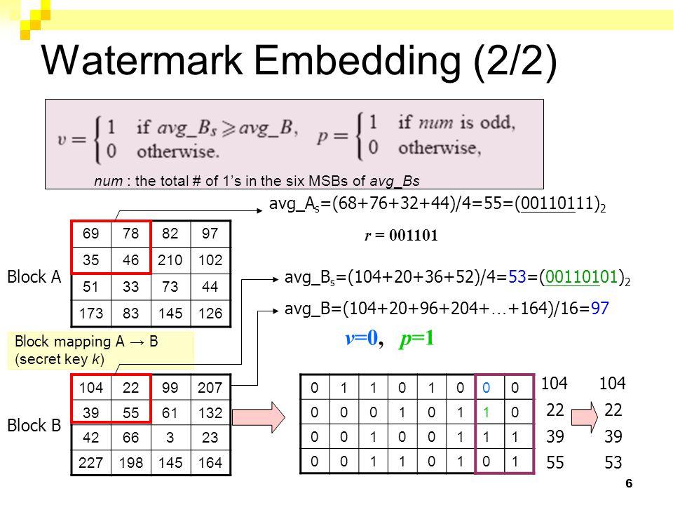 7 Hierarchical Tamper Detection (1/3) 1042099207 395361132 4266323 227198145164 avg_B ' s =(104+20+36+52)/4=53 (=00110101) avg_B ' =(104+20+96+204+ … +164)/16=97 011010 000101 001001 001101 00 00 11 01 Level 1 : 104 20 39 53 v=0, p=0 v'=0, p'=0 Sub-Block is invalid, if p' is not equal to p Sub-Block is invalid, if v' is not equal to v