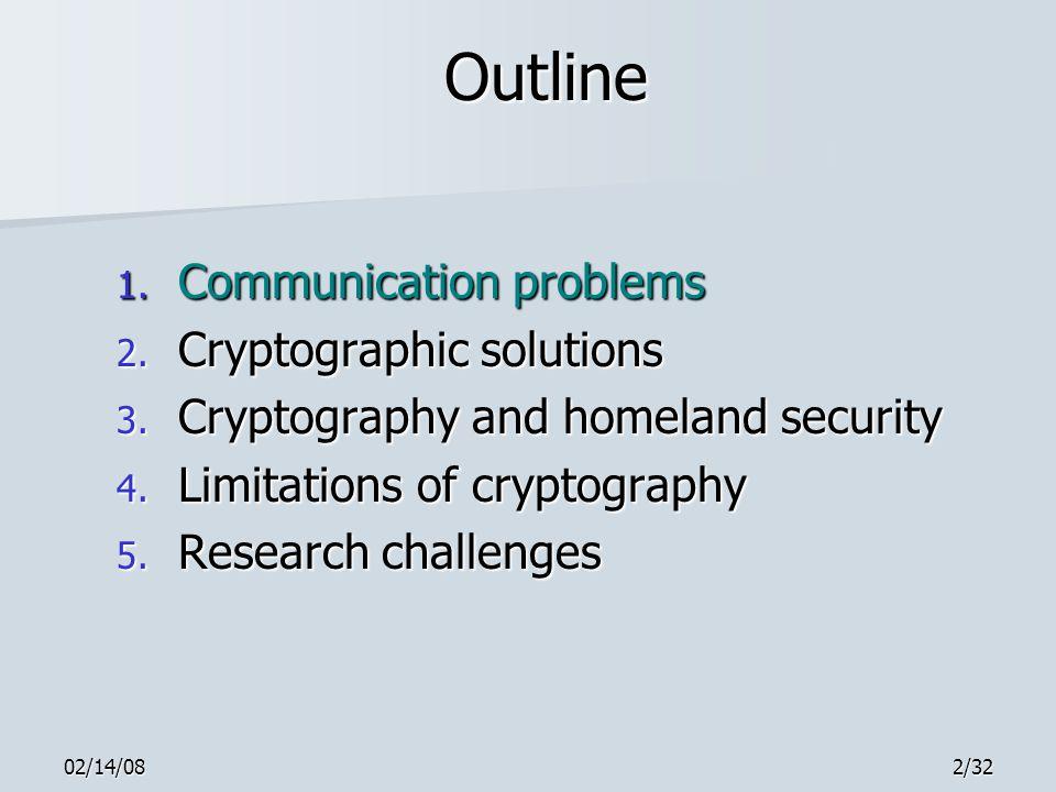 02/14/082/32 Outline 1. Communication problems 2.