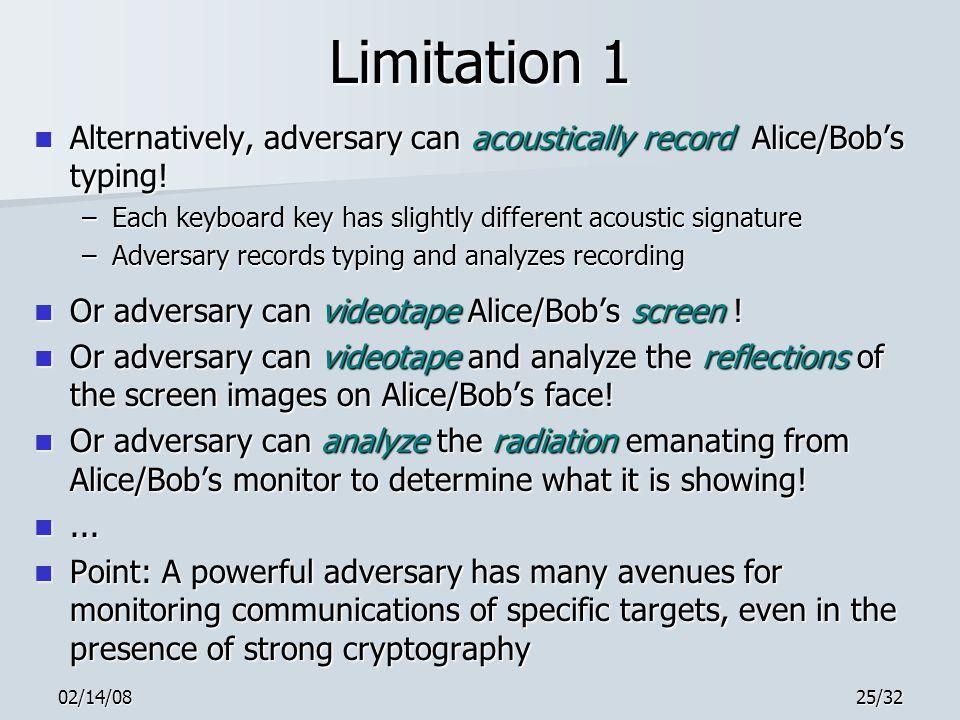 02/14/0825/32 Limitation 1 Alternatively, adversary can acoustically record Alice/Bob's typing.
