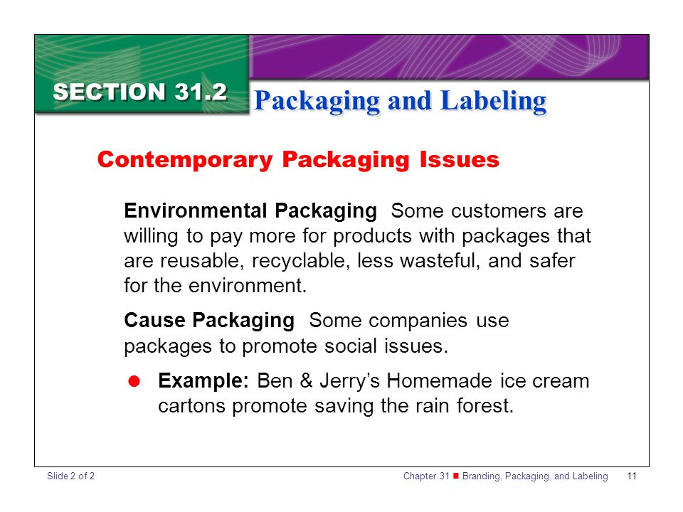 Chapter 31 Branding, Packaging, and Labeling 11 SECTION 31.2 Packaging and Labeling Contemporary Packaging Issues Environmental Packaging Some custome
