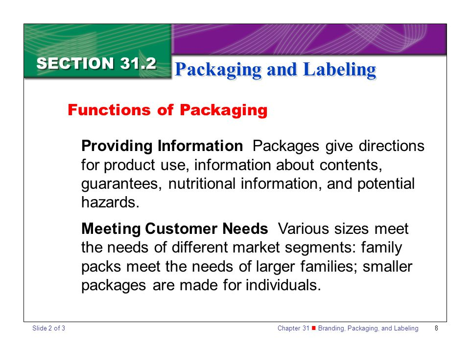 Chapter 31 Branding, Packaging, and Labeling 8 SECTION 31.2 Packaging and Labeling Functions of Packaging Providing Information Packages give directio