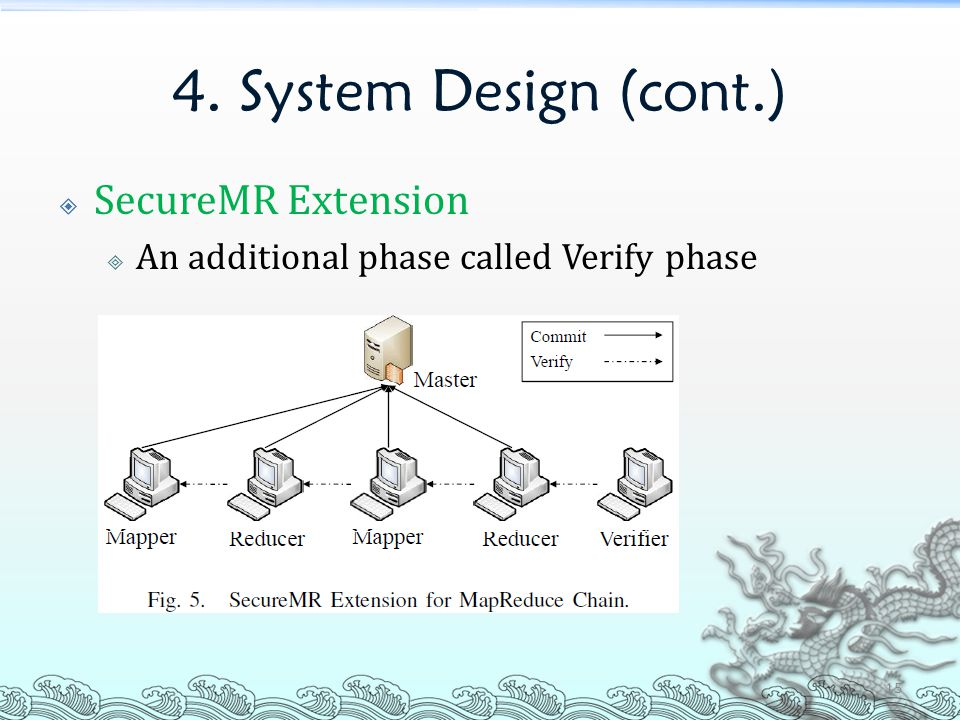 4. System Design (cont.)  SecureMR Extension  An additional phase called Verify phase 15