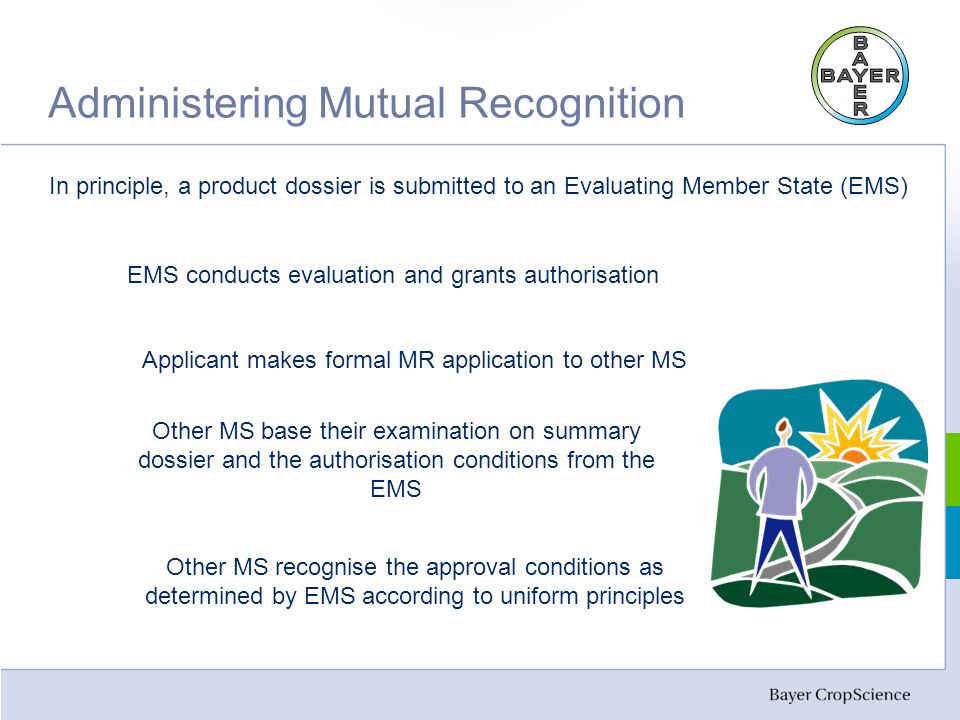 Administering Mutual Recognition In principle, a product dossier is submitted to an Evaluating Member State (EMS) EMS conducts evaluation and grants authorisation Applicant makes formal MR application to other MS Other MS base their examination on summary dossier and the authorisation conditions from the EMS Other MS recognise the approval conditions as determined by EMS according to uniform principles