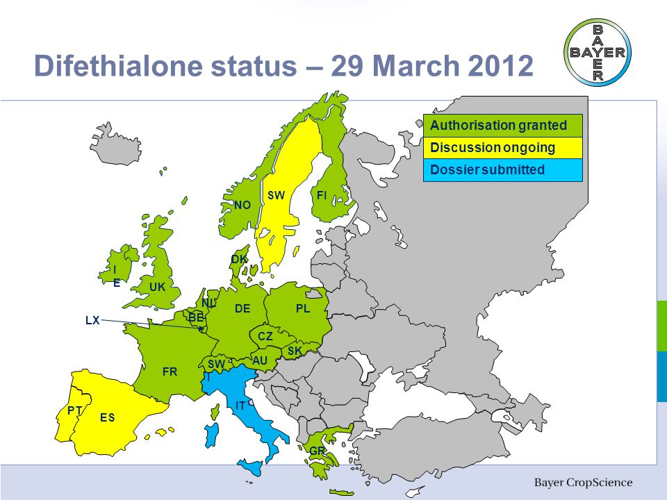 Difethialone status – 29 March 2012 Discussion ongoing Authorisation granted Dossier submitted UK IEIE NO SWFI PL SK CZ AU DE DK NL BE FR IT ES SW I PT LX GR