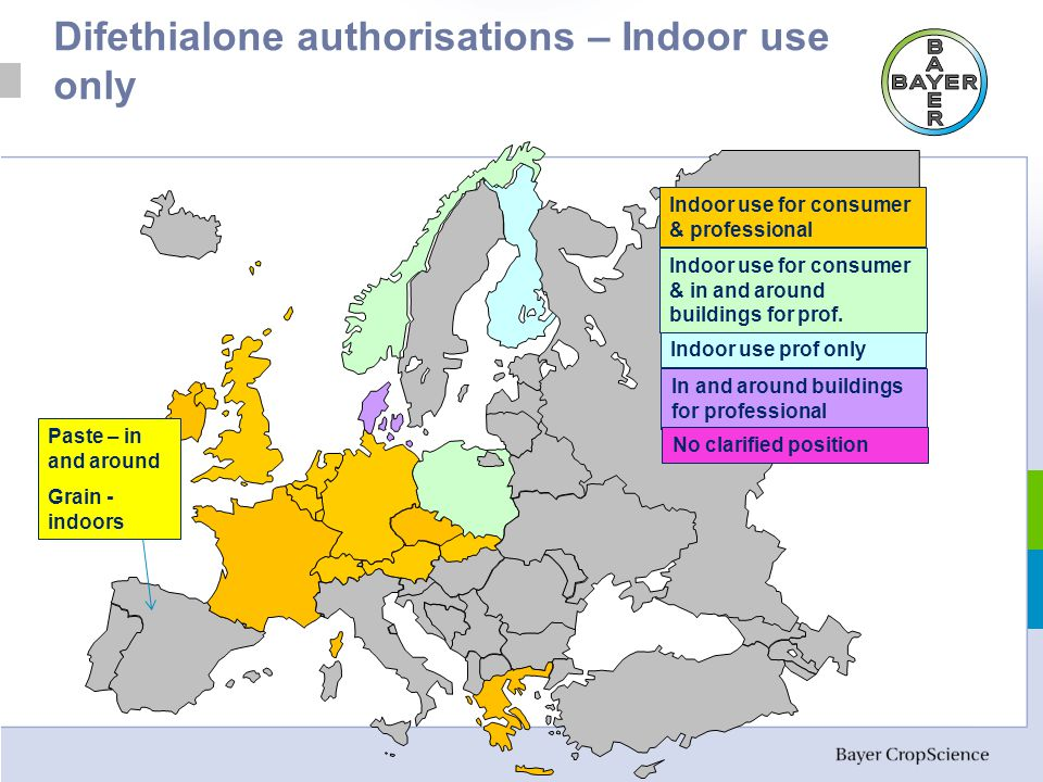 Difethialone authorisations – Indoor use only Indoor use for consumer & professional Indoor use for consumer & in and around buildings for prof.