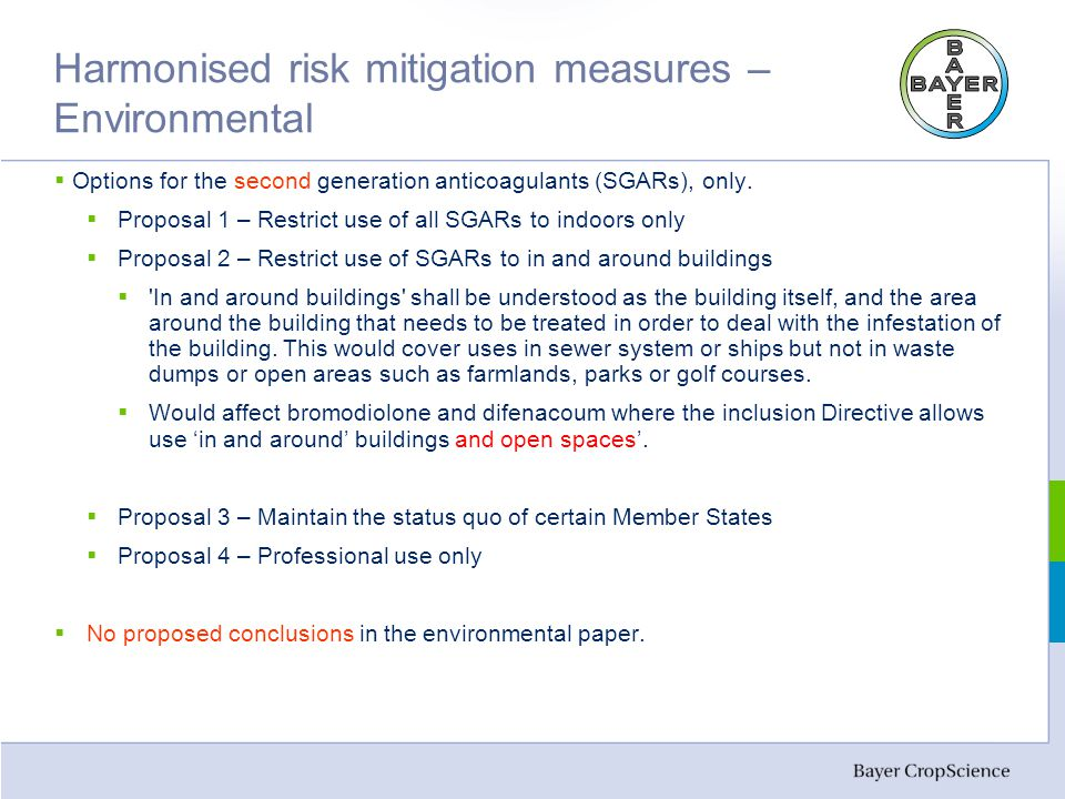 Harmonised risk mitigation measures – Environmental  Options for the second generation anticoagulants (SGARs), only.