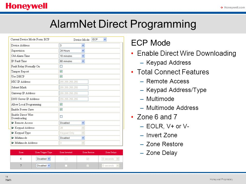 Honeywell Proprietary Honeywell.com  14 7847i AlarmNet Direct Programming ECP Mode Enable Direct Wire Downloading –Keypad Address Total Connect Featu