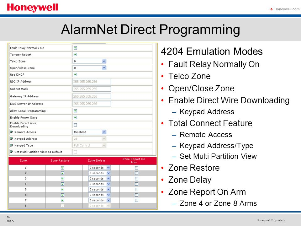 Honeywell Proprietary Honeywell.com  16 7847i 4204 Emulation Modes Fault Relay Normally On Telco Zone Open/Close Zone Enable Direct Wire Downloading