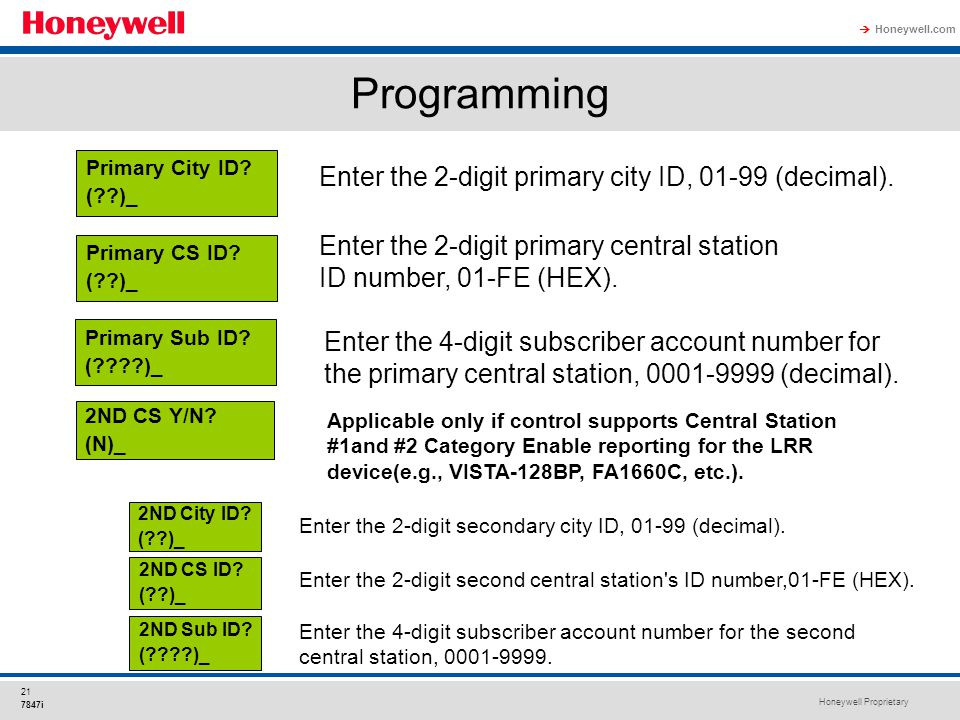 Honeywell Proprietary Honeywell.com  21 7847i Programming Enter the 2-digit primary city ID, 01-99 (decimal). Enter the 2-digit primary central stati