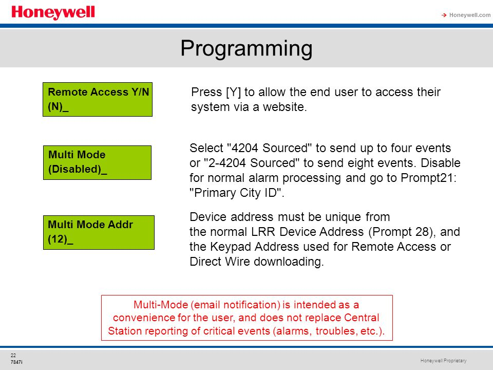 Honeywell Proprietary Honeywell.com  22 7847i Programming Multi-Mode (email notification) is intended as a convenience for the user, and does not rep