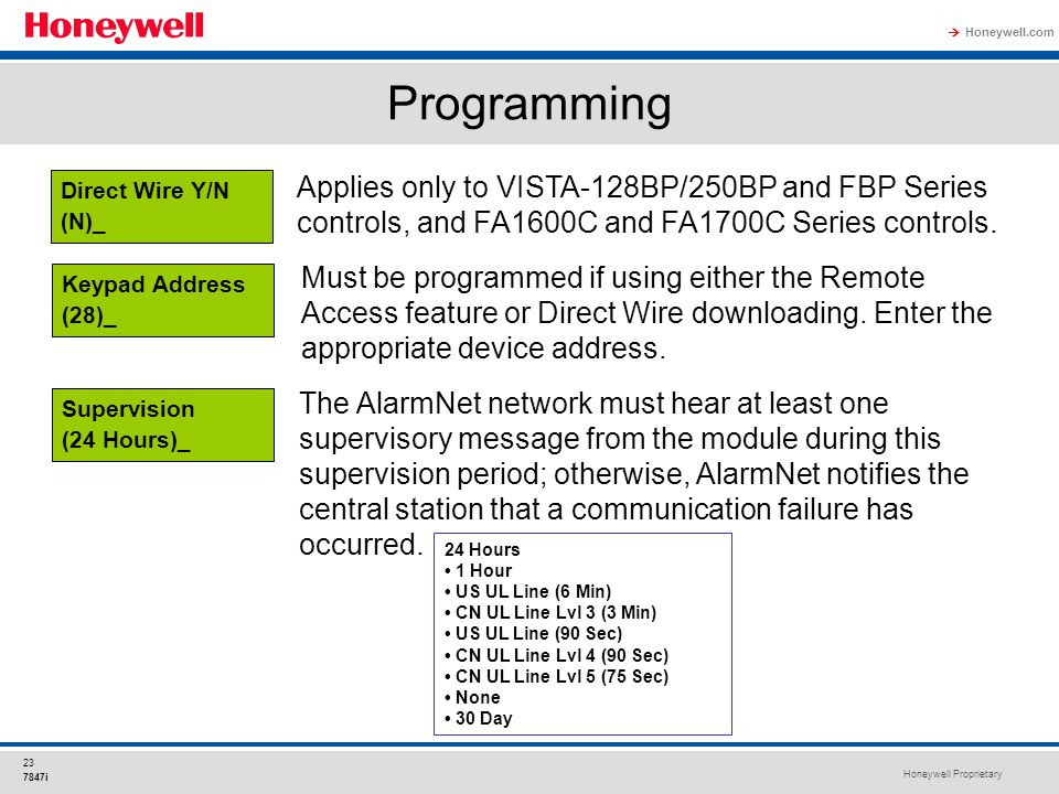Honeywell Proprietary Honeywell.com  23 7847i Programming Applies only to VISTA-128BP/250BP and FBP Series controls, and FA1600C and FA1700C Series c