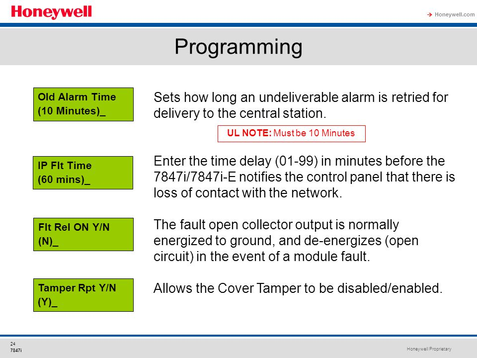 Honeywell Proprietary Honeywell.com  24 7847i Programming Sets how long an undeliverable alarm is retried for delivery to the central station. Enter