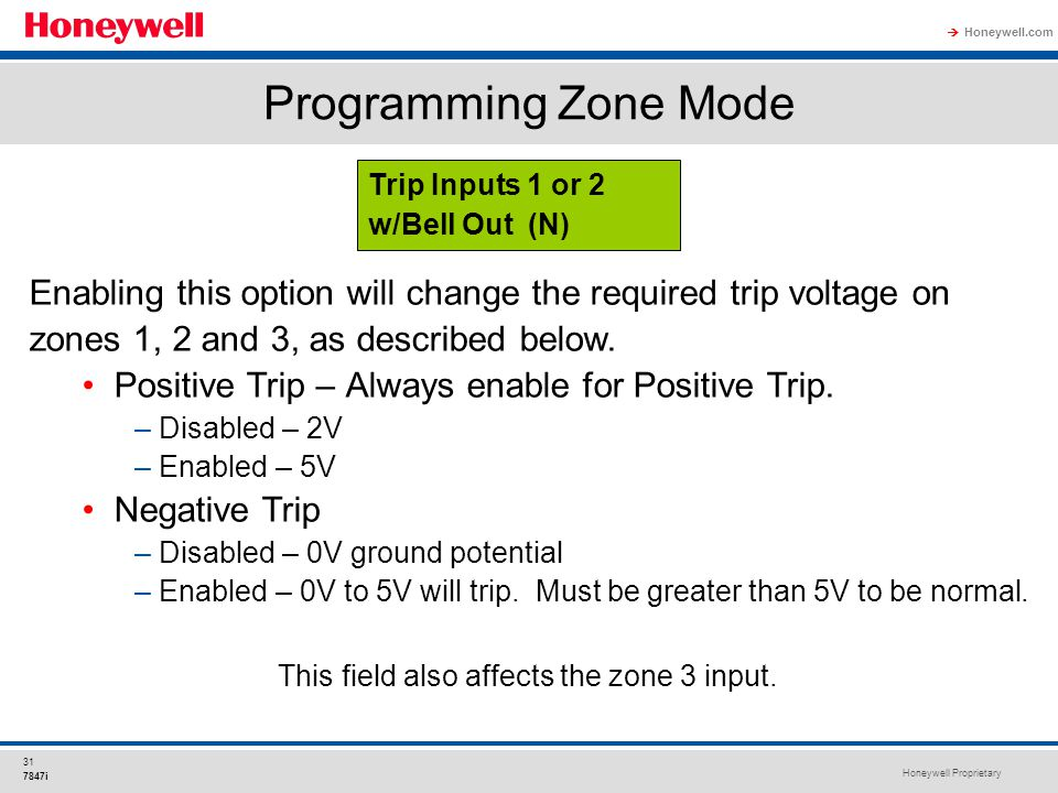 Honeywell Proprietary Honeywell.com  31 7847i Programming Zone Mode Enabling this option will change the required trip voltage on zones 1, 2 and 3, a