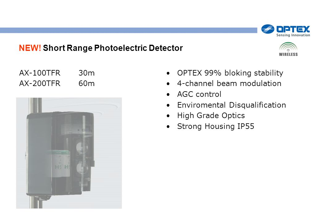 NEW! Short Range Photoelectric Detector AX-100TFR30m AX-200TFR60m OPTEX 99% bloking stability 4-channel beam modulation AGC control Enviromental Disqu