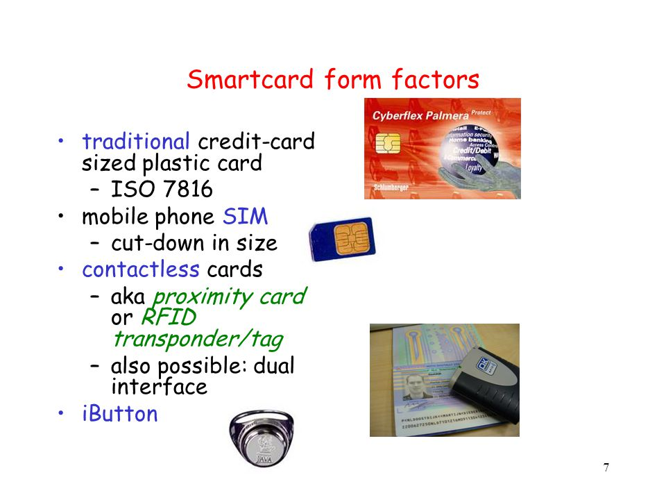 38 crypto key K CPU challenge c response f K (c) Typical use of smartcard key K never leaves the card Card issuer does not have to trust the network, the terminal, or card holder