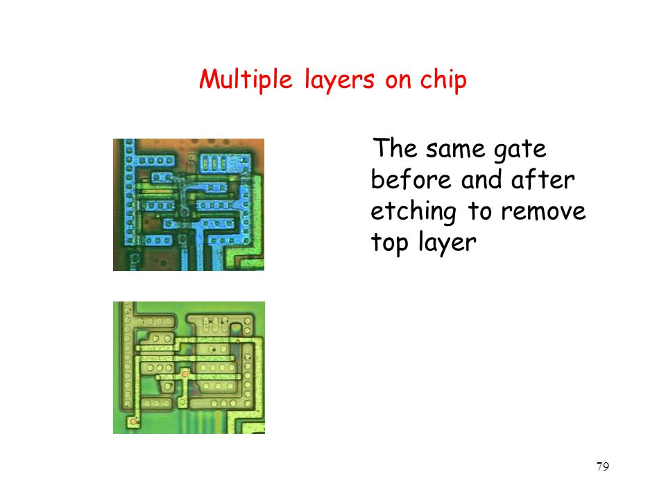 79 Multiple layers on chip The same gate before and after etching to remove top layer