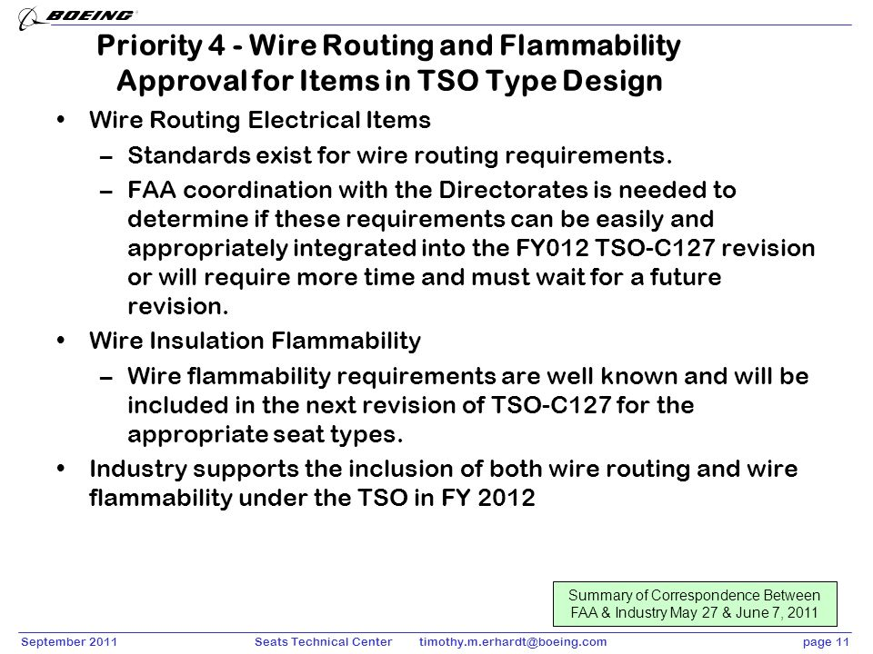 September 2011page 11Seats Technical Center timothy.m.erhardt@boeing.com Priority 4 - Wire Routing and Flammability Approval for Items in TSO Type Des