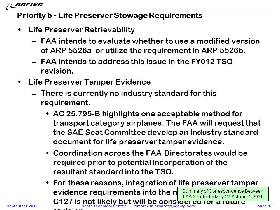 September 2011page 13Seats Technical Center timothy.m.erhardt@boeing.com Priority 5 - Life Preserver Stowage Requirements Life Preserver Retrievabilit