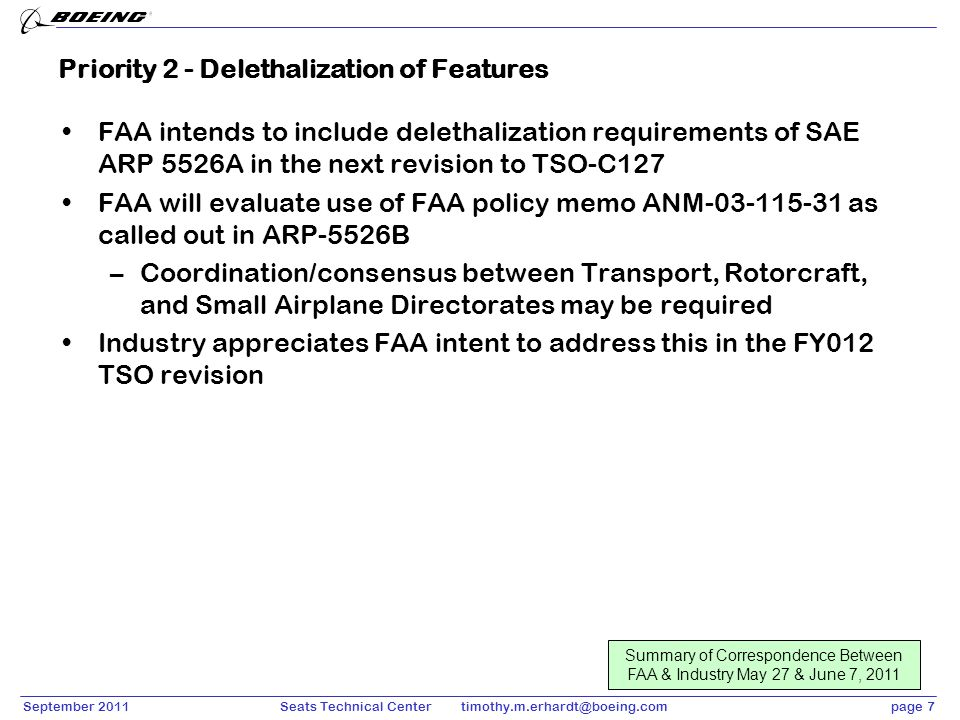 September 2011page 7Seats Technical Center timothy.m.erhardt@boeing.com Priority 2 - Delethalization of Features FAA intends to include delethalizatio