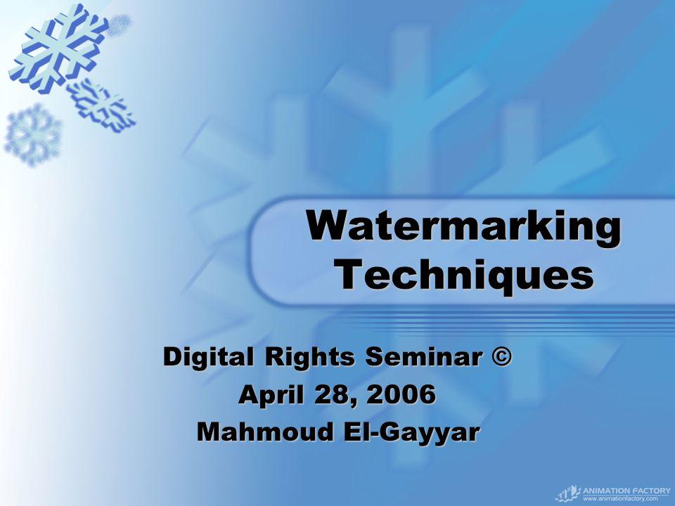 Watermarking Techniques Digital Rights Seminar © April 28, 2006 Mahmoud El-Gayyar