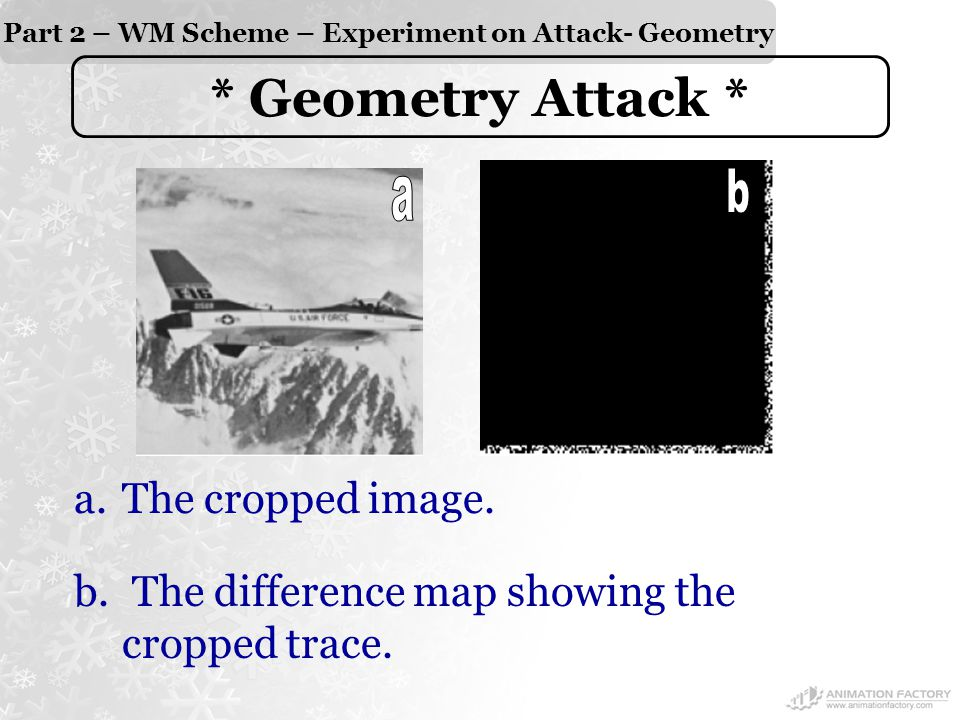 Part 2 – WM Scheme – Experiment on Attack- Geometry * Geometry Attack * a.The cropped image.