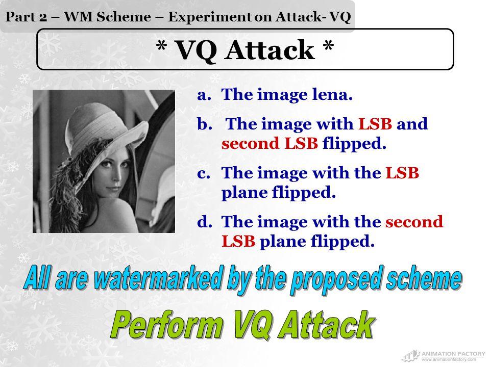 Part 2 – WM Scheme – Experiment on Attack- VQ * VQ Attack * a.The image lena.