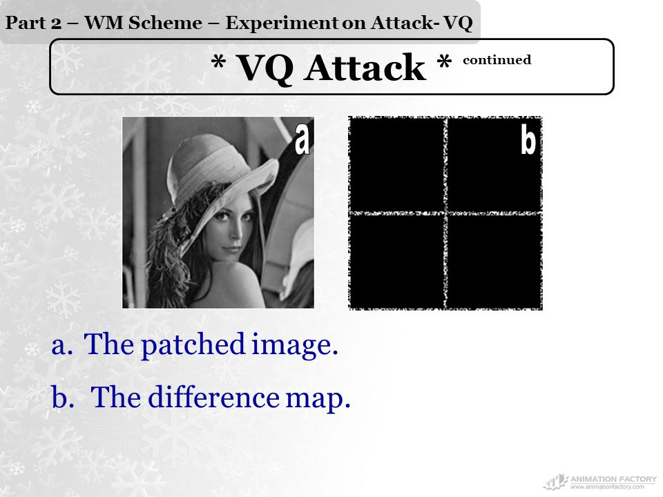 Part 2 – WM Scheme – Experiment on Attack- VQ * VQ Attack * continued a.The patched image.