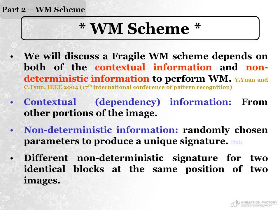 Part 2 – WM Scheme * WM Scheme * We will discuss a Fragile WM scheme depends on both of the contextual information and non- deterministic information to perform WM.