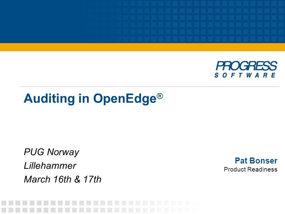 Pat Bonser Product Readiness Auditing in OpenEdge ® PUG Norway Lillehammer March 16th & 17th
