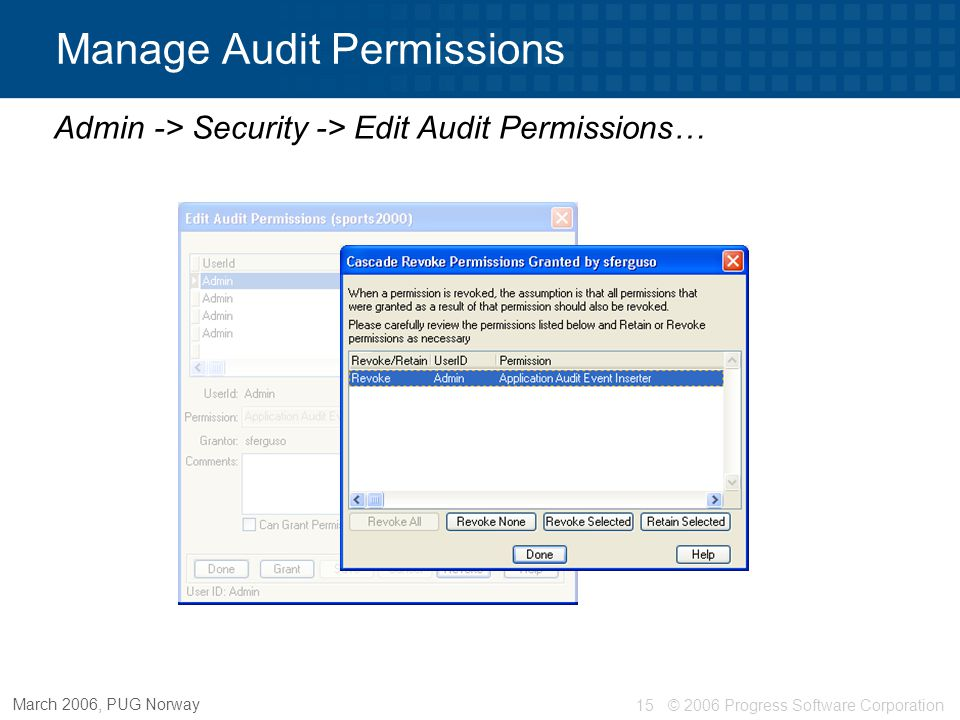 © 2006 Progress Software Corporation15 March 2006, PUG Norway Manage Audit Permissions Admin -> Security -> Edit Audit Permissions…