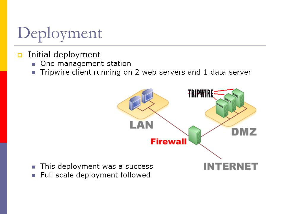 Deployment  Initial deployment One management station Tripwire client running on 2 web servers and 1 data server This deployment was a success Full scale deployment followed