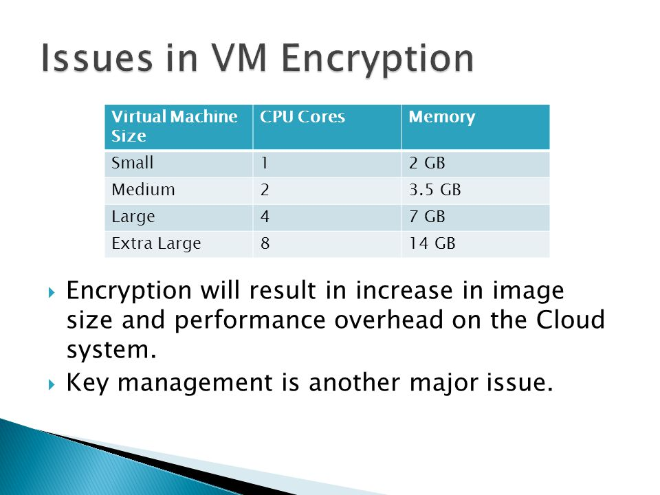  Encryption will result in increase in image size and performance overhead on the Cloud system.  Key management is another major issue. Virtual Mach