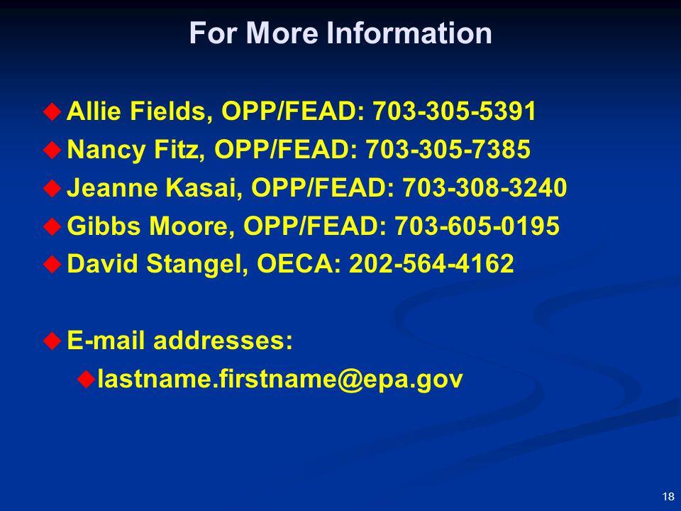 18 For More Information  Allie Fields, OPP/FEAD: 703-305-5391  Nancy Fitz, OPP/FEAD: 703-305-7385  Jeanne Kasai, OPP/FEAD: 703-308-3240  Gibbs Moore, OPP/FEAD: 703-605-0195  David Stangel, OECA: 202-564-4162  E-mail addresses:  lastname.firstname@epa.gov