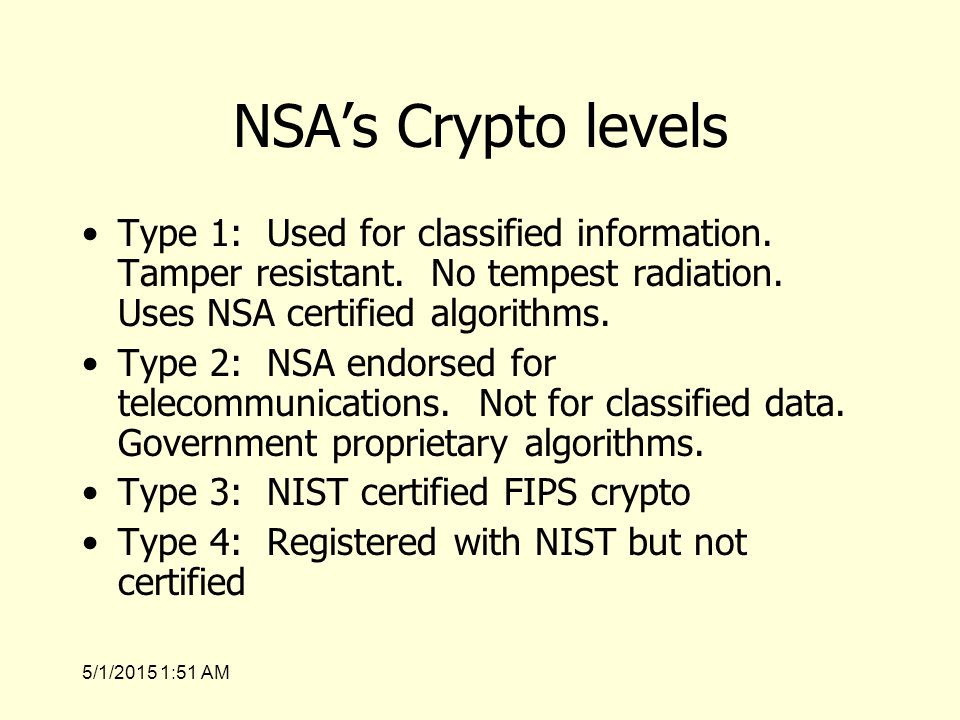 5/1/2015 1:53 AM NSA's Crypto levels Type 1: Used for classified information.