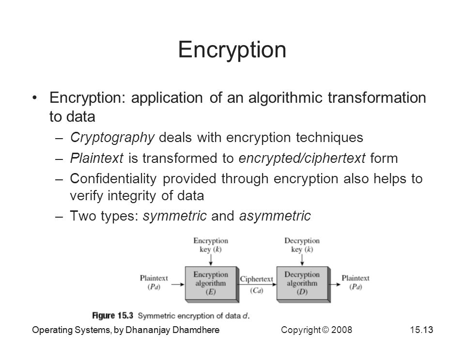 Operating Systems, by Dhananjay Dhamdhere Copyright © 200815.13Operating Systems, by Dhananjay Dhamdhere13 Encryption Encryption: application of an algorithmic transformation to data –Cryptography deals with encryption techniques –Plaintext is transformed to encrypted/ciphertext form –Confidentiality provided through encryption also helps to verify integrity of data –Two types: symmetric and asymmetric