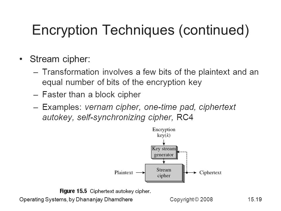 Operating Systems, by Dhananjay Dhamdhere Copyright © 200815.19Operating Systems, by Dhananjay Dhamdhere19 Encryption Techniques (continued) Stream cipher: –Transformation involves a few bits of the plaintext and an equal number of bits of the encryption key –Faster than a block cipher –Examples: vernam cipher, one-time pad, ciphertext autokey, self-synchronizing cipher, RC4