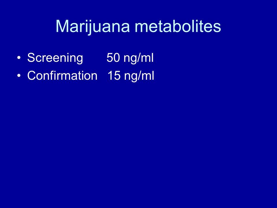 Marijuana metabolites Screening 50 ng/ml Confirmation 15 ng/ml