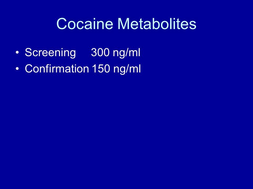 Cocaine Metabolites Screening 300 ng/ml Confirmation 150 ng/ml