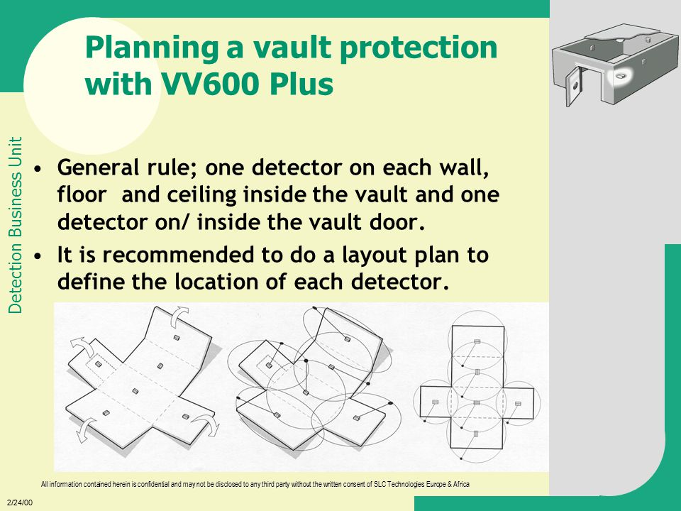 2/24/00 All information contained herein is confidential and may not be disclosed to any third party without the written consent of SLC Technologies Europe & Africa Detection Business Unit Planning a vault protection with VV600 Plus General rule; one detector on each wall, floor and ceiling inside the vault and one detector on/ inside the vault door.