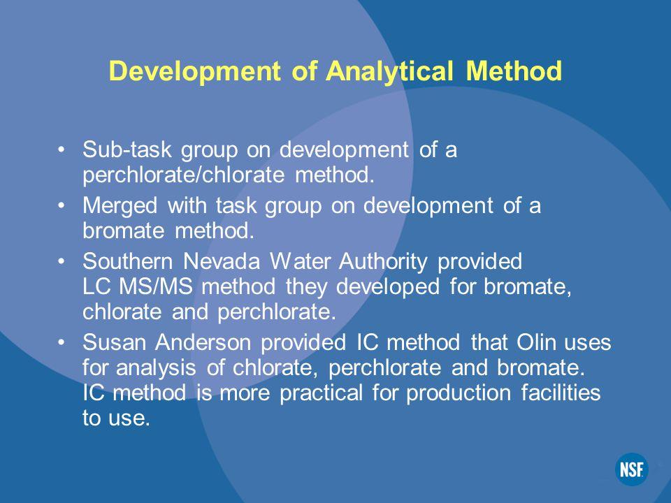 Development of Analytical Method Sub-task group on development of a perchlorate/chlorate method.