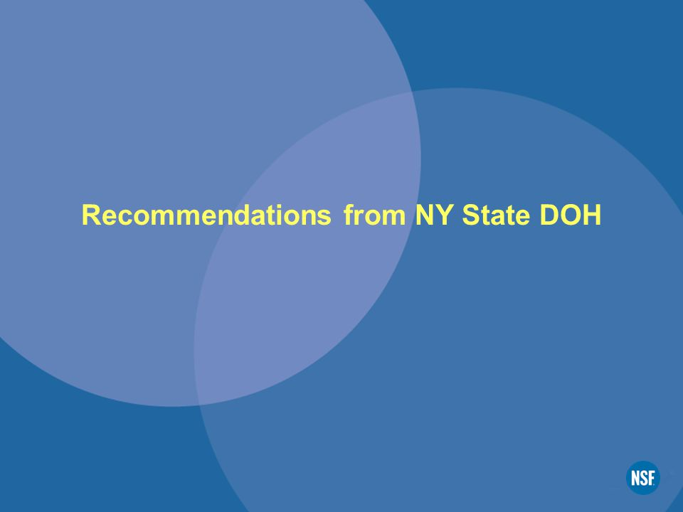 Recommendations from NY State DOH