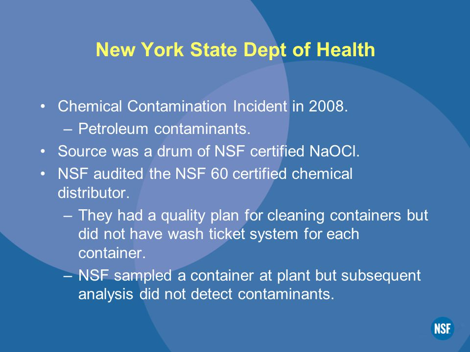 New York State Dept of Health Chemical Contamination Incident in 2008.