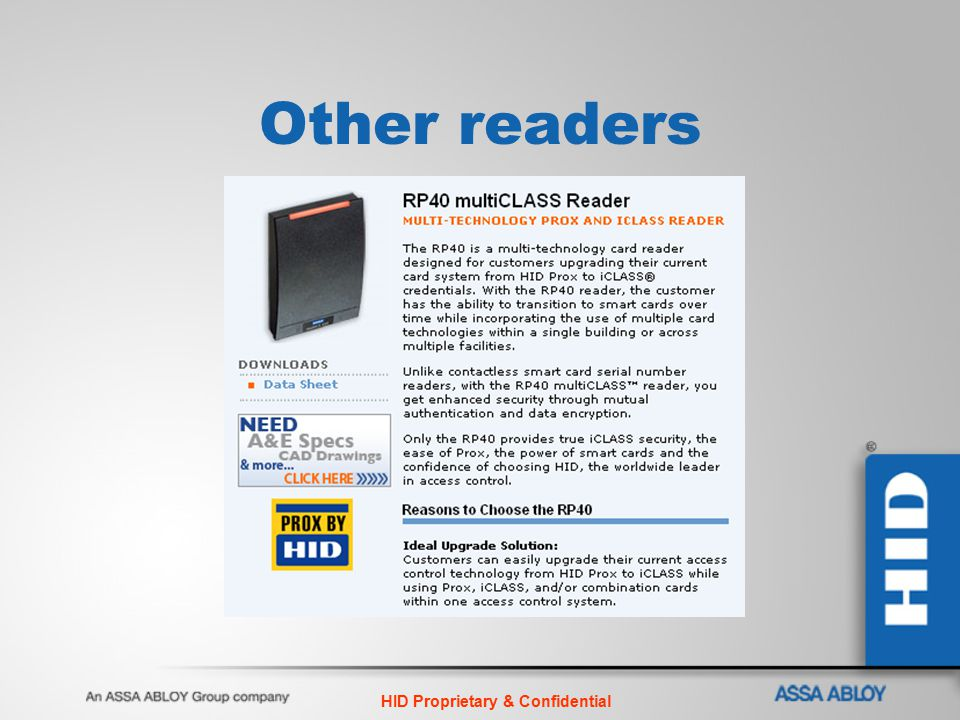 HID Proprietary & Confidential Other readers