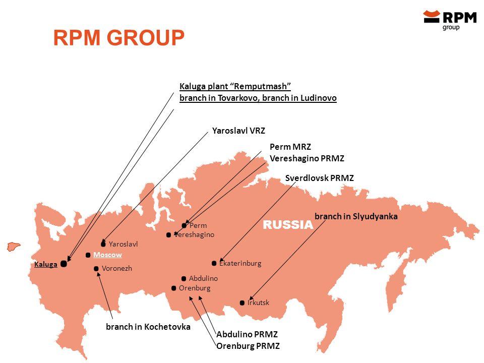 RPM GROUP Kaluga plant Remputmash branch in Tovarkovo, branch in Ludinovo Yaroslavl VRZ.
