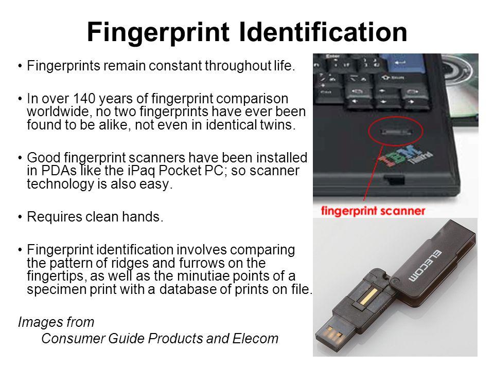 Fingerprint Identification Fingerprints remain constant throughout life.