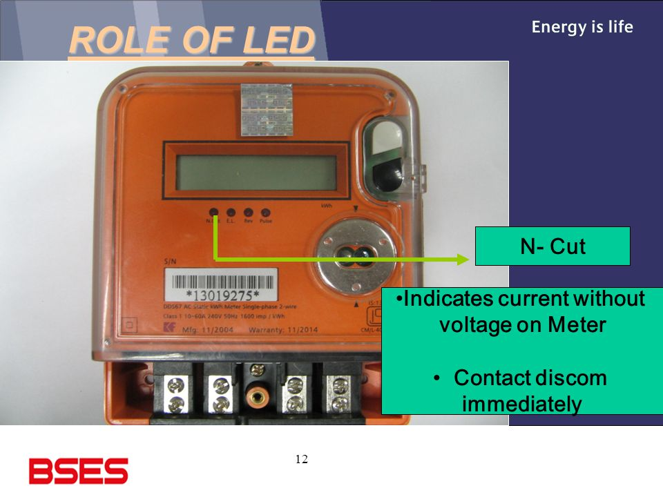 12 ROLE OF LED N- Cut Indicates current without voltage on Meter Contact discom immediately